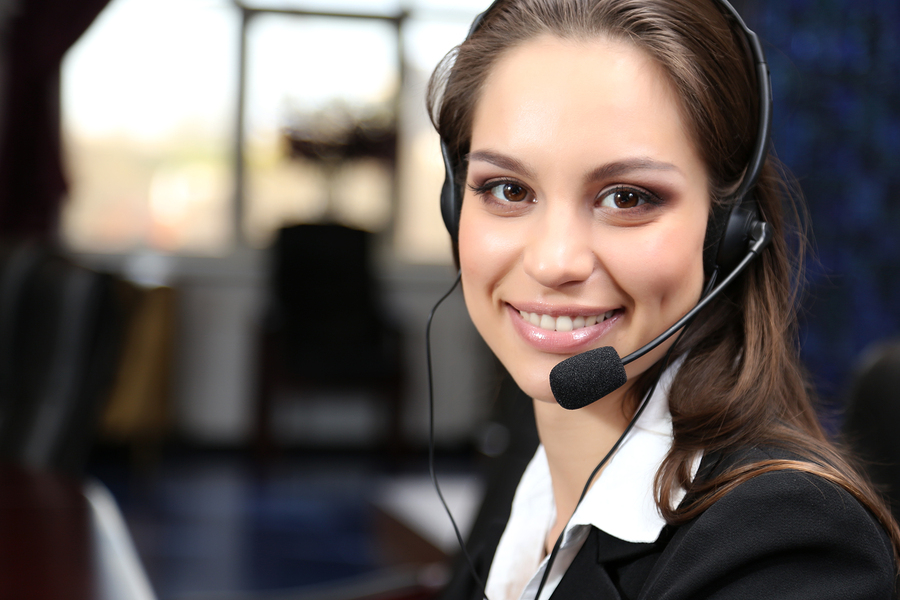 Call center operator at work